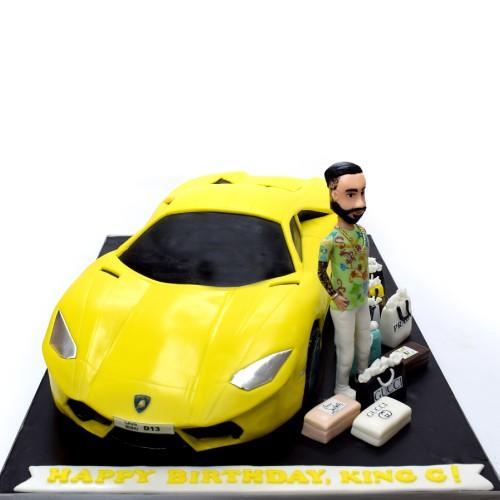 lamborghini car shape cake with man figure 8