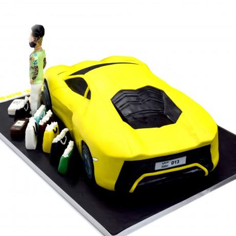 lamborghini car shape cake with man figure 7