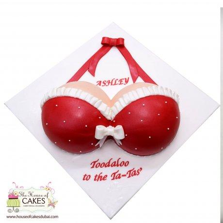 red lingerie bra cake 6