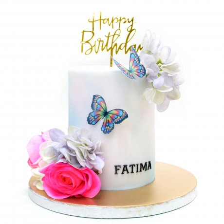 flowers and butterflies cake 6 12