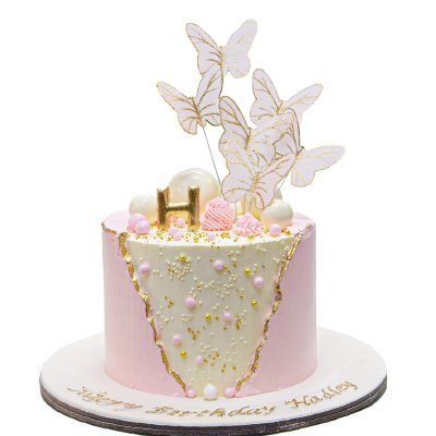 Cake with letter and butterflies