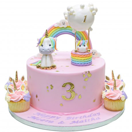 cute unicorns cake with clouds rainbow and balloons 6