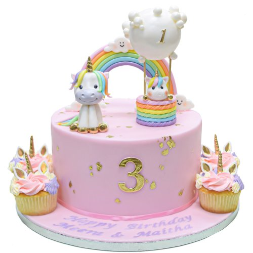 cute unicorns cake with clouds rainbow and balloons 13