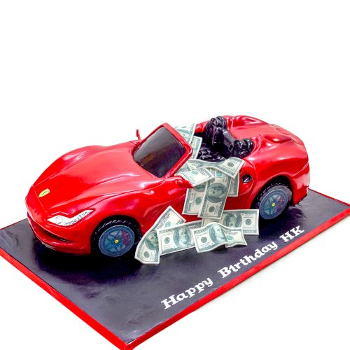 Ferrari car cake full with money