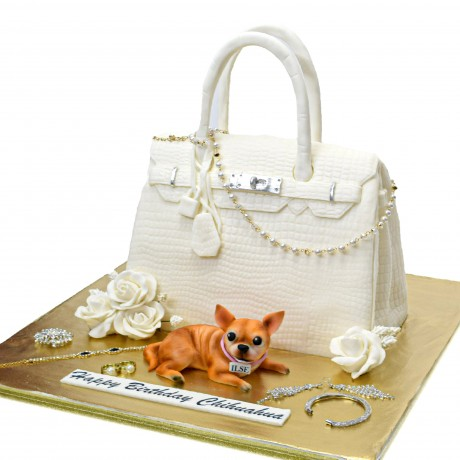 hermes bag and chihuahua dog cake 6