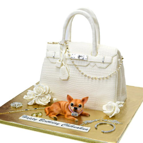 Hermes Bag and Chihuahua dog Cake