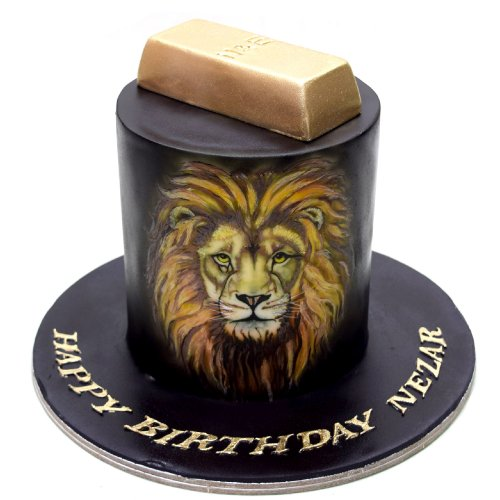Lion and gold bar cake