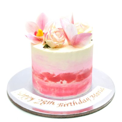 Pink Ombre Cake with flowers 2