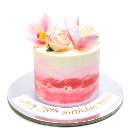pink ombre cake with flowers 2 6