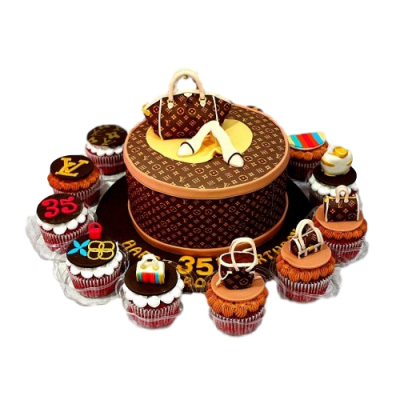 Louis Vuitton cake and cupcakes