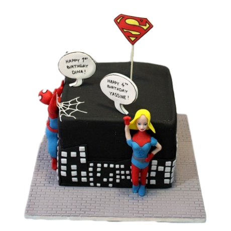 spiderman and super woman cake 6