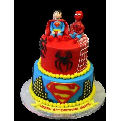 Spiderman and Superman cake