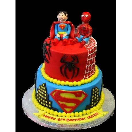 spiderman and superman cake 6