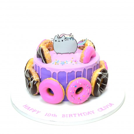 cake with doughnuts and pusheen cat 6