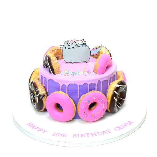 cake with doughnuts and pusheen cat 7