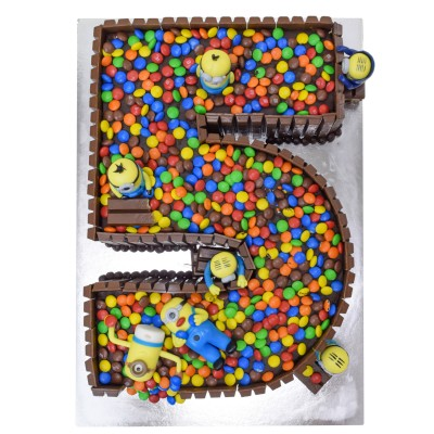 Kit Kat M&M's and Minions number shaped cake