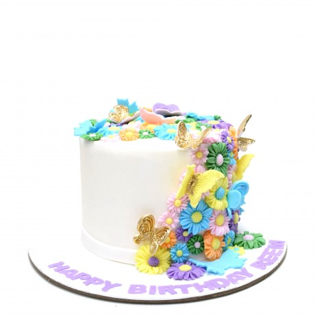 flowers and butterflies cake 5 6