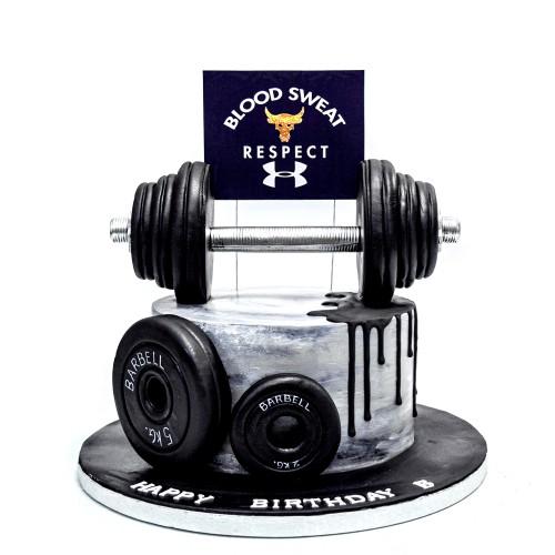 Fitness bodybuilder weightlifting cake