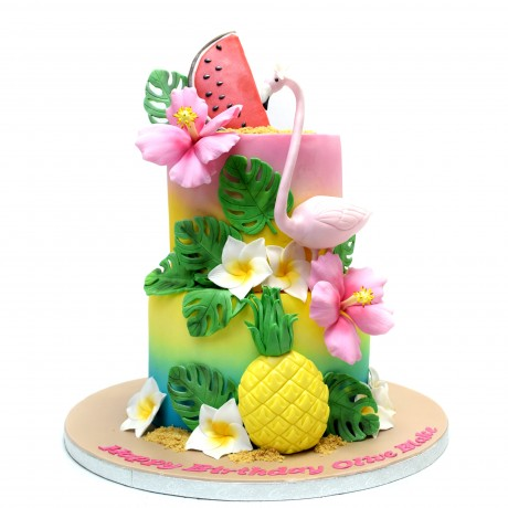 tropical hawaiian flamingo theme cake 4 6