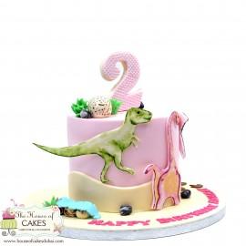 Dinosaur theme cake for girls
