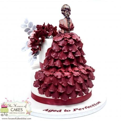 elegant dress cake 12