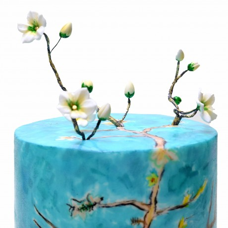 almond blossoms by van gogh inspired cake 13
