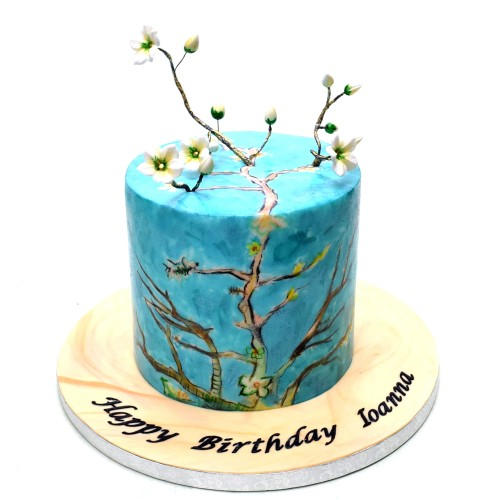 almond blossoms by van gogh inspired cake 14