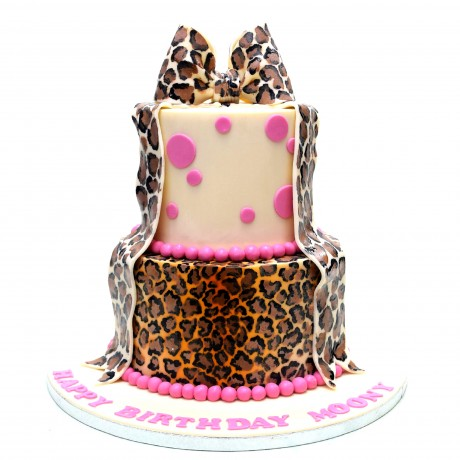 leopard print and dots cake 6