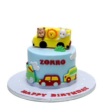 Transport cake with animals in bus