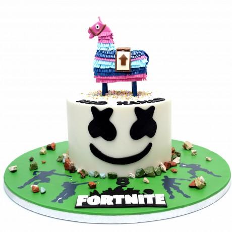 marshmelo and lama fortnite cake 6