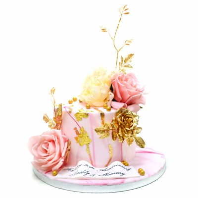 Marble cake with gold pink and white flowers