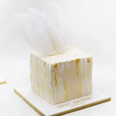 Buttercream cube cake white