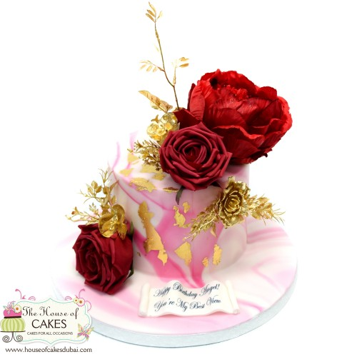 pink marble cake with red and gold flowers 7