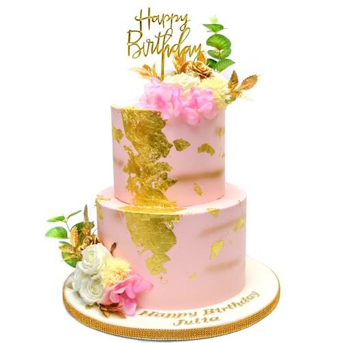elegant pink and gold cake 13