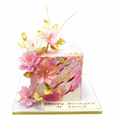 Modern Cube Cake with flowers