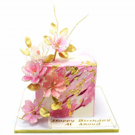 modern cube cake with flowers 12