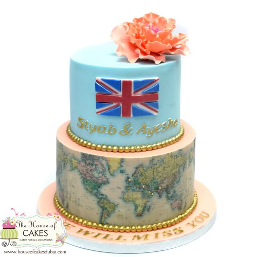 cake with world map and uk flag 7