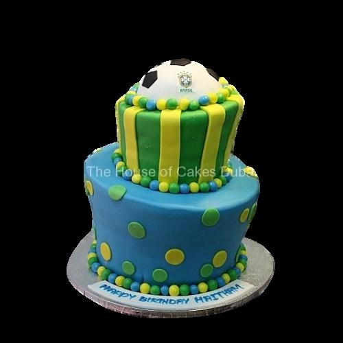 Brazil football theme cake