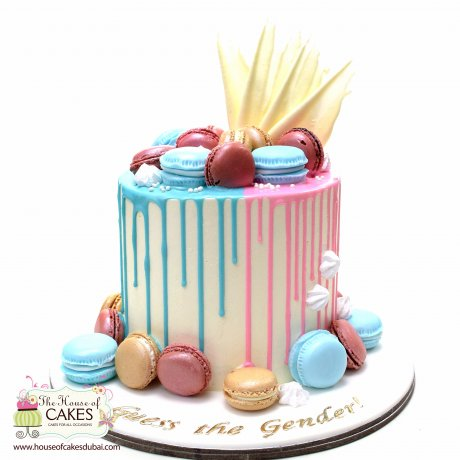 Pink and blue drip cake