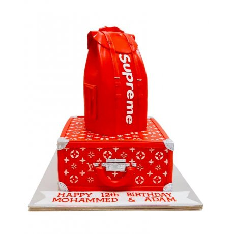 Supreme x Louis Vuitton backpack cake