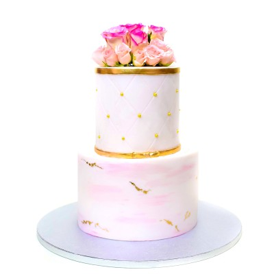 Light pink and gold cake