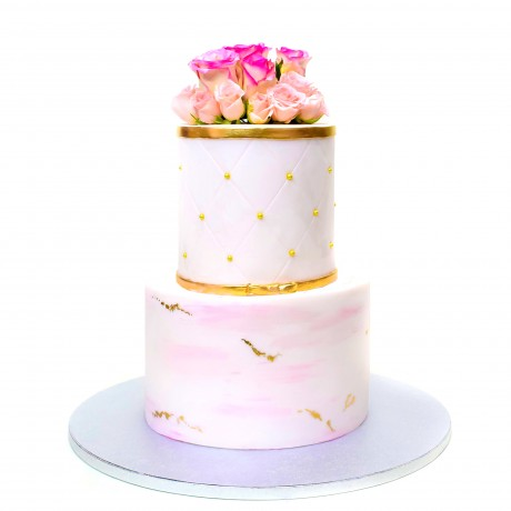 light pink and gold cake 12