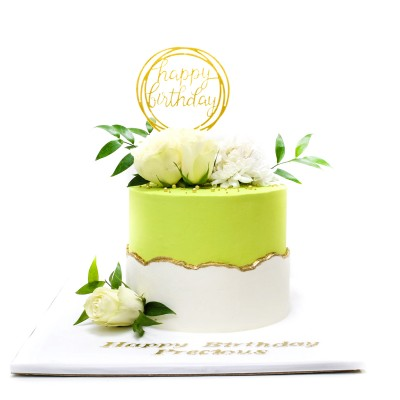Mint green and white fault line cake