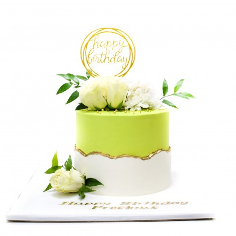 mint green and white fault line cake 12