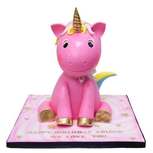 Pink 3D Unicorn Cake