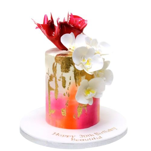 trendy cake with orchids and pink sail 7