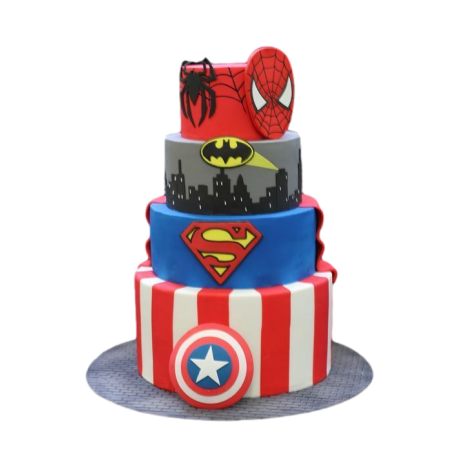 batman, superman and spiderman superheroes cake 6