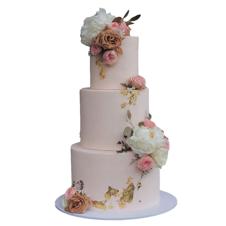 cake with pink and white roses 6