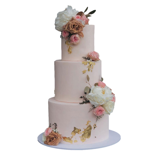 cake with pink and white roses 7