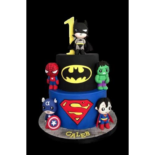 batman, superman and spiderman cake 2 7